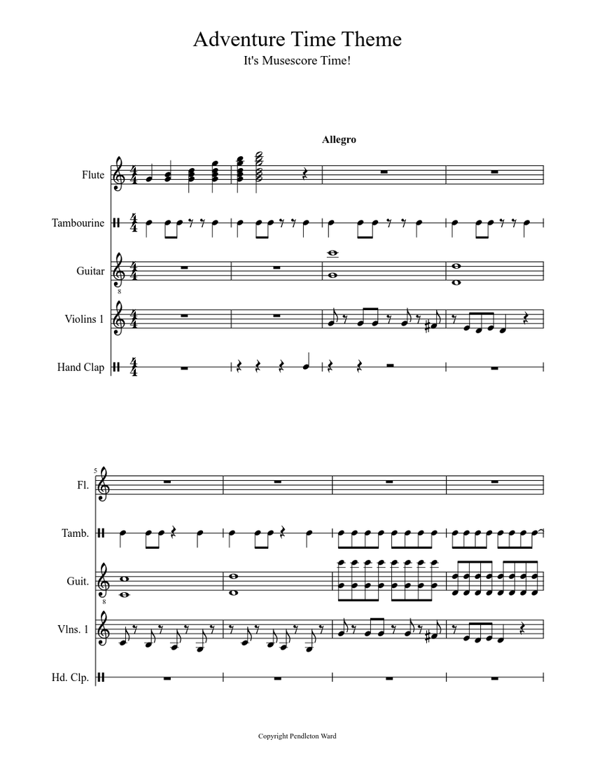 Adventure Time Theme Sheet music  Download free in PDF or MIDI  Musescore.com