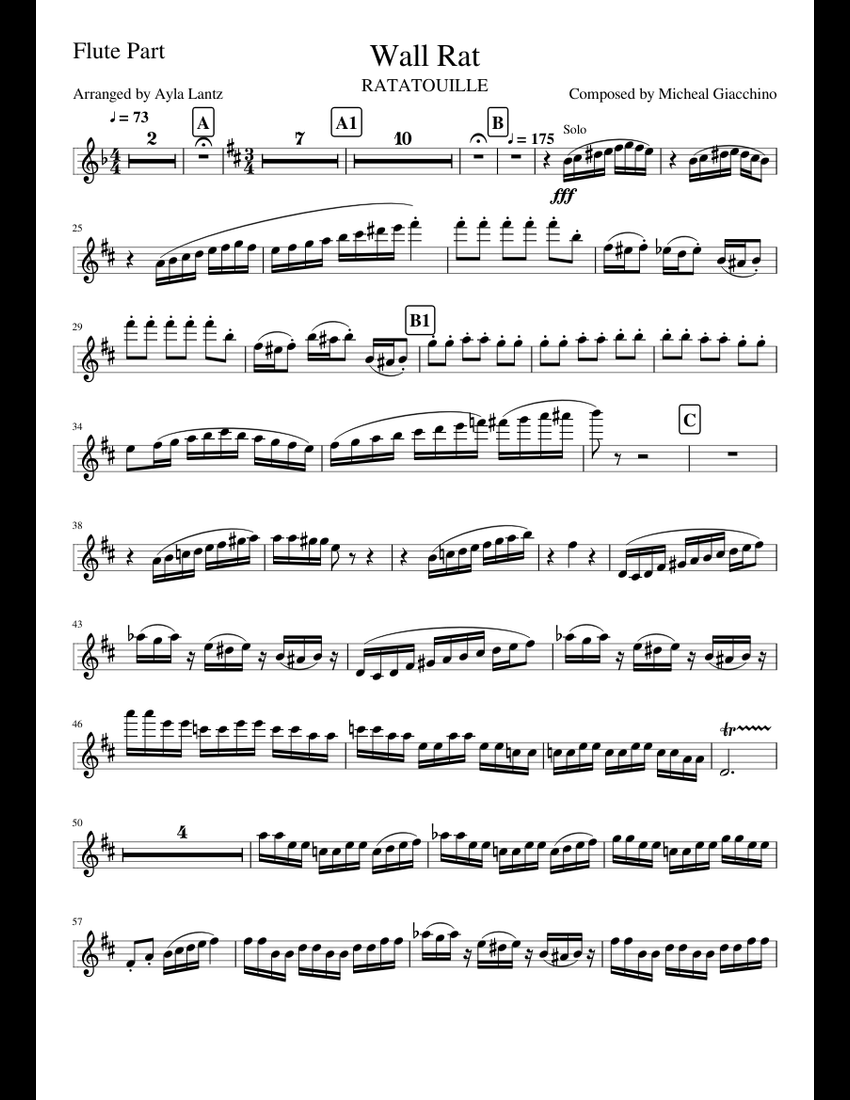 Wall Rat- Flute Part sheet music for Flute download free in PDF or MIDI