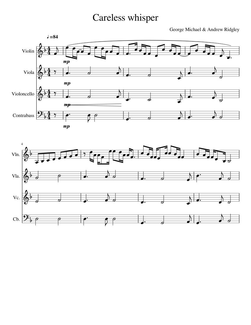 Careless Whisper sheet music for Violin, Viola, Cello ...