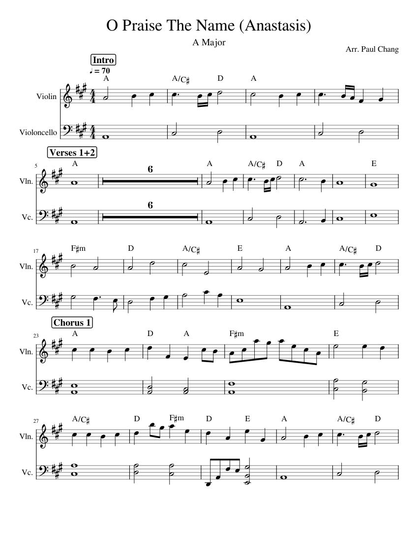 O_Praise_The_Name_(Anastasis) sheet music for Violin ...