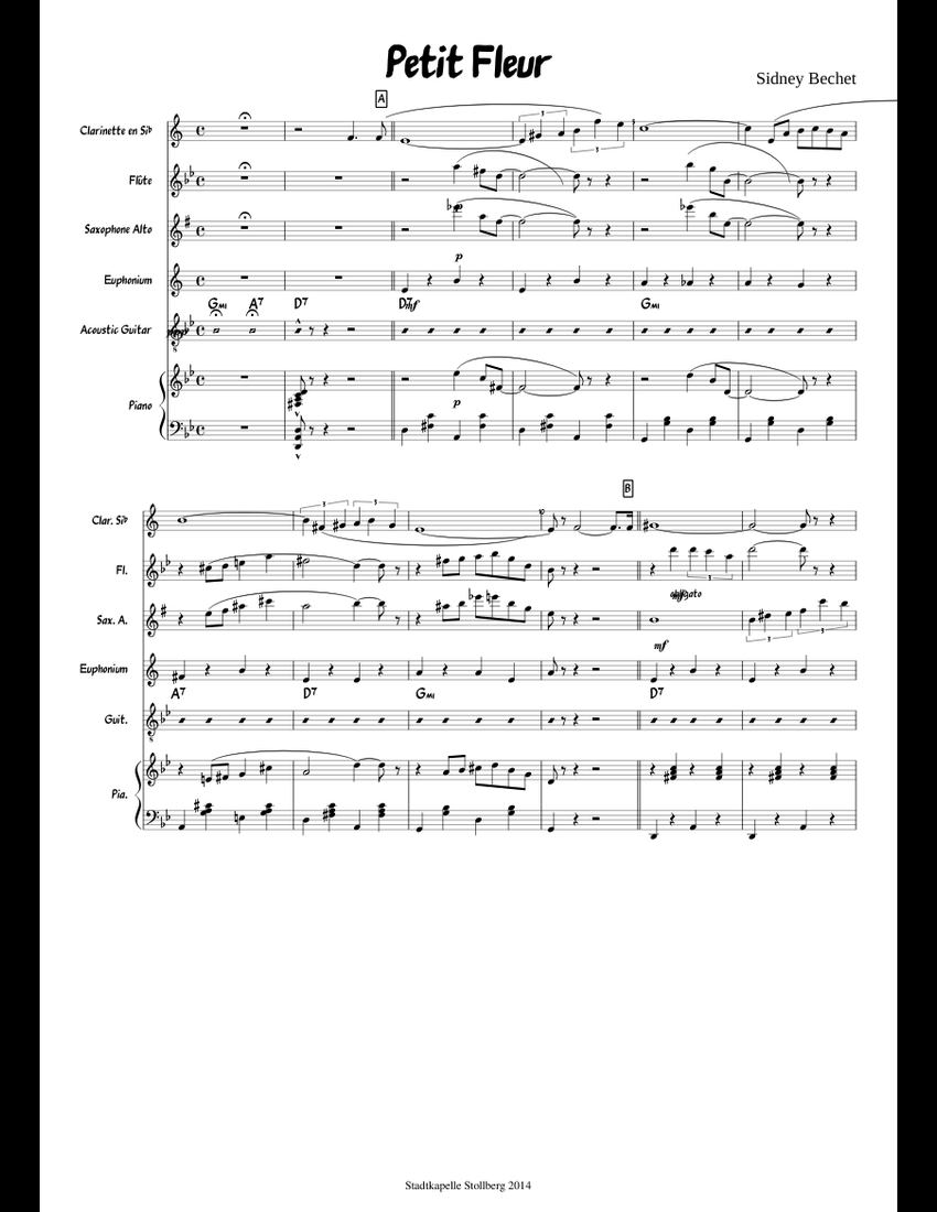 Petit Fleur Sheet Music For Clarinet Flute Piano Alto Saxophone
