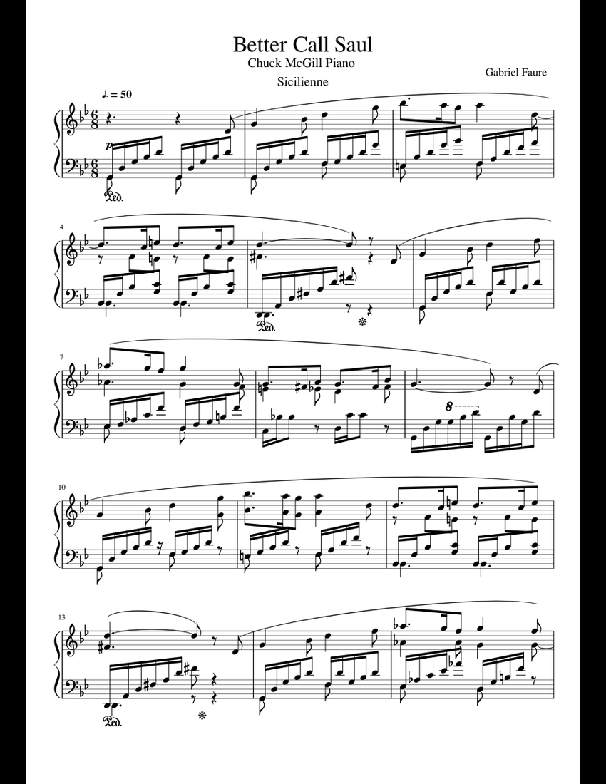 Better Call Saul Chuck Piano (Sicilienne) sheet music for