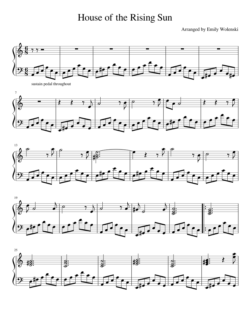 House Of The Rising Sun Sheet Music For Piano Solo Musescore Com,Mirrored Bathroom Cabinets Ikea