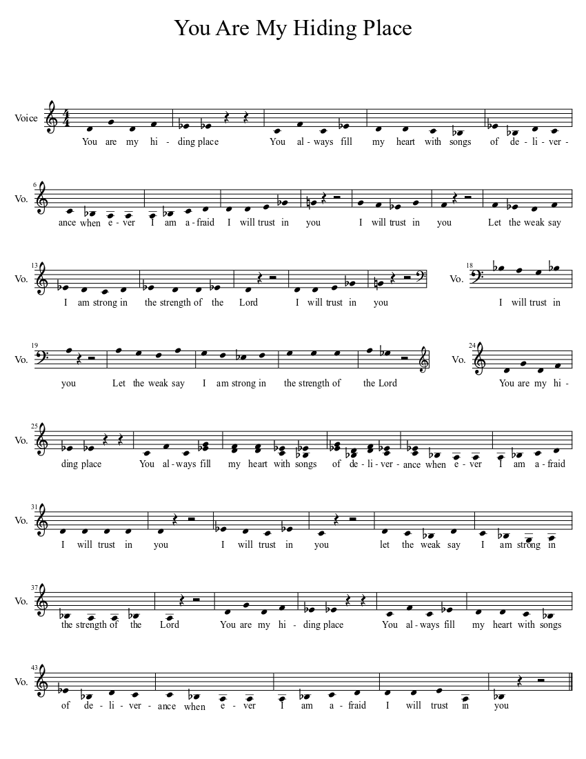 You Are My Hiding Place sheet music download free in PDF or MIDI