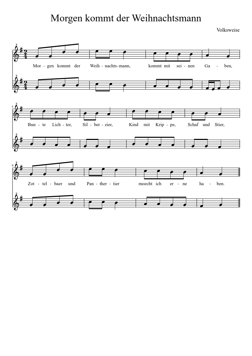 Morgen kommt der Weihnachstmann - Score