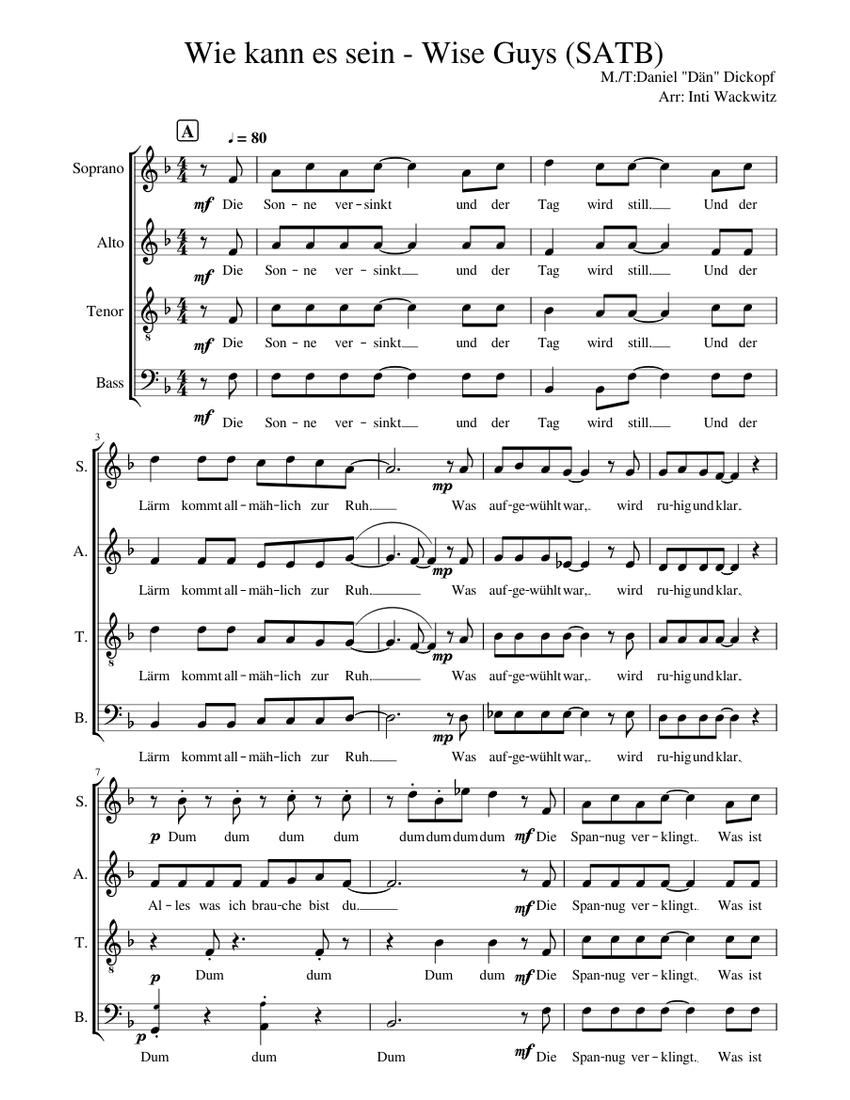Wie kann es sein - Wise Guys (SATB) Sheet music for Voice