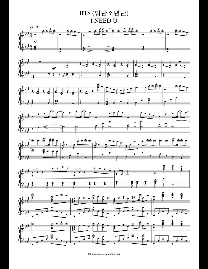 piano bts sheet suga solo pdf musescore