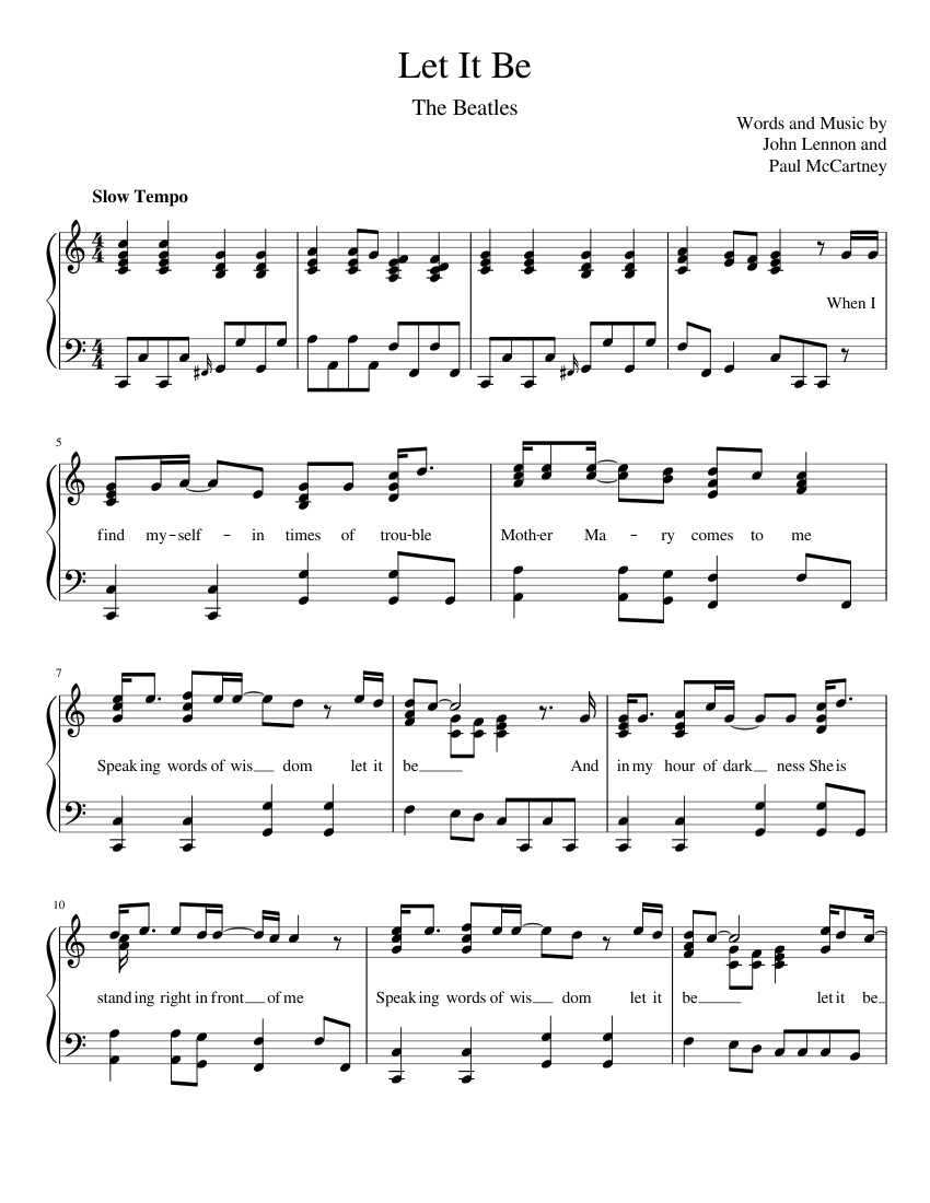 Let It Be sheet music for Piano download free in PDF or MIDI