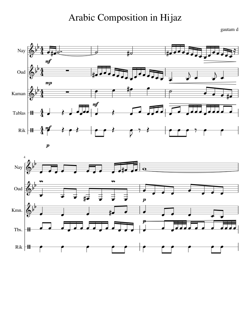 Arabic Composition in Hijaz sheet music for Flute, Violin