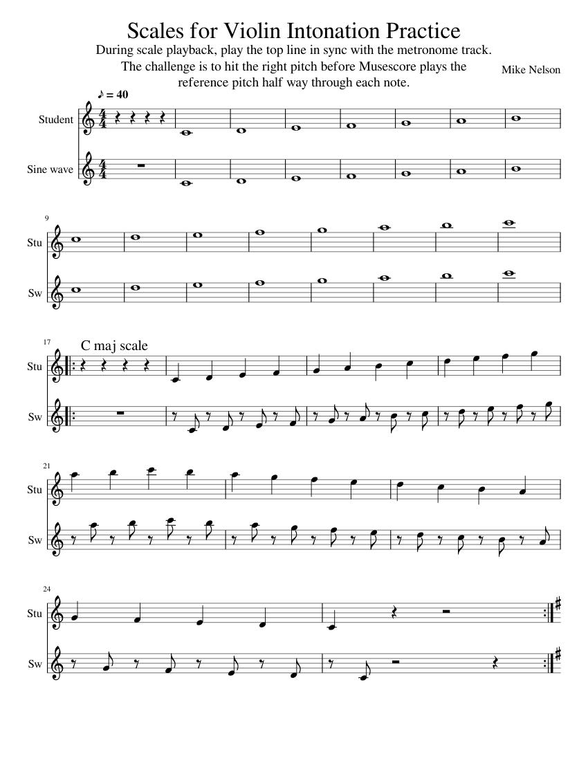 Violin Intonation Training Via Reference Tones sheet music
