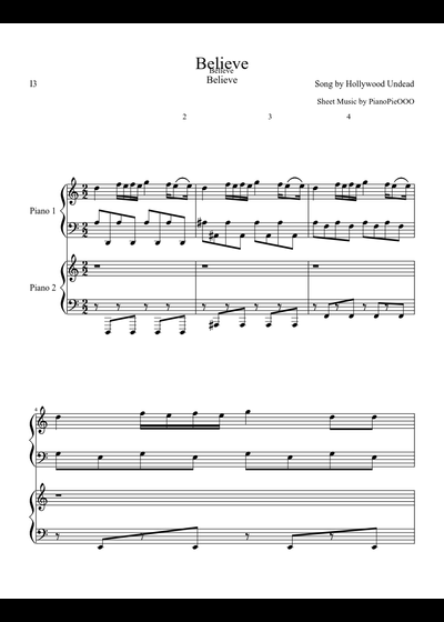 Hollywood undead believe sheet music download free in pdf or midi.