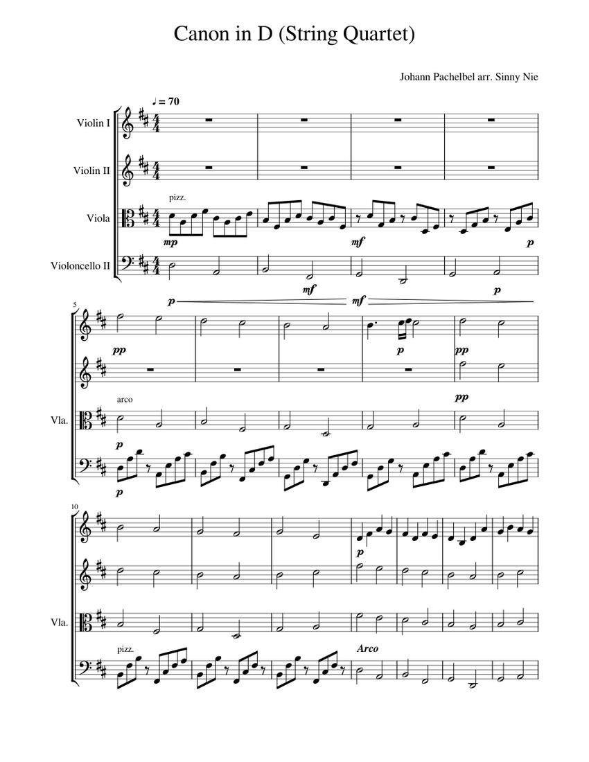 canon in d violin quartet