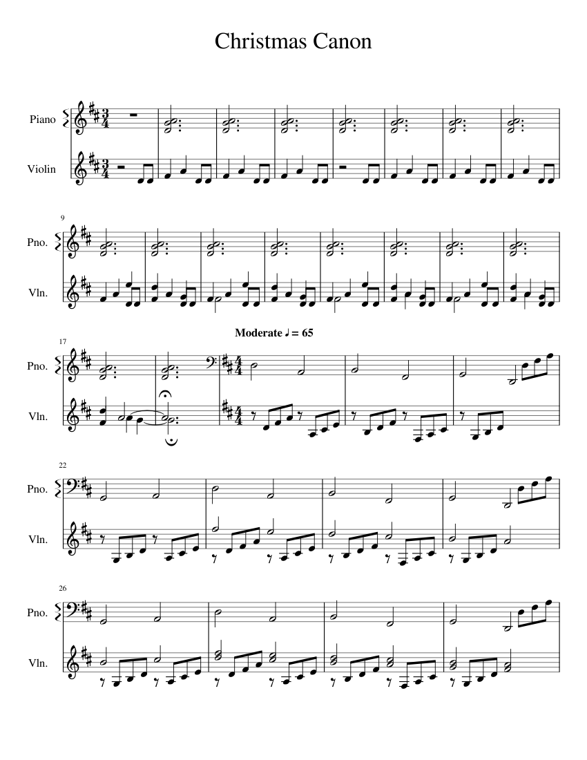 Christmas Canon By Trans-Siberian Orchestra String Method sheet music for Piano, Violin download ...