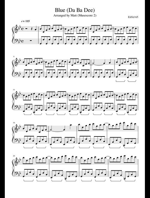 Blue Da Ba Dee (Eiffel 65) sheet music for Piano download