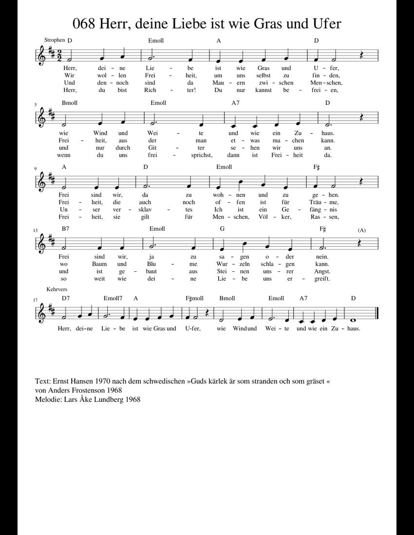 Herr_deine_Liebe_ist_wie_Gras_und_Ufer sheet music for