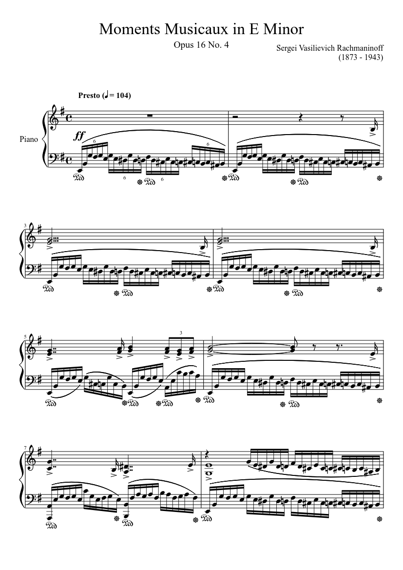 6 Moments musicaux, Op. 16: No. 5, Adagio sostenuto