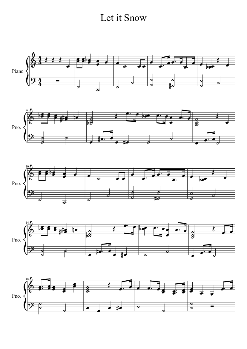 graphic about Let It Be Piano Sheet Music Free Printable known as Allow it Snow sheet songs obtain free of charge within just PDF or MIDI