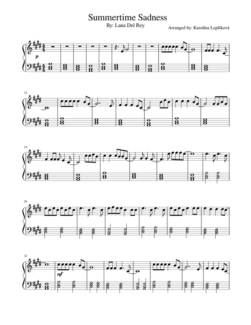 Summertime Sadness Sheet Music For Piano Solo Musescore Com