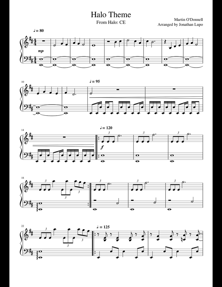Halo Theme sheet music for Piano download free in PDF or MIDI