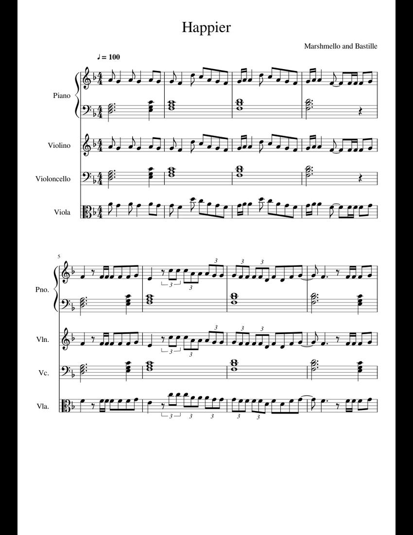 Happier Marshmello Sheet Music For Piano  Violin  Cello