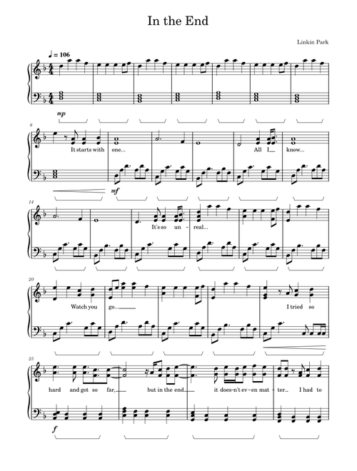 In the End - Linkin Park - Piano sheet music for Piano