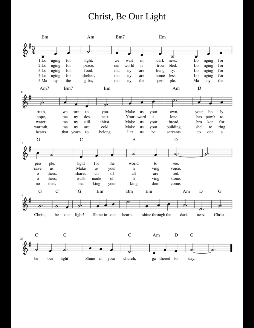 christ be our light sheet music free download