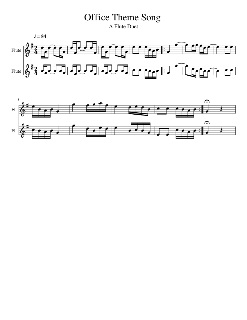office theme song sheet music for flute download free in