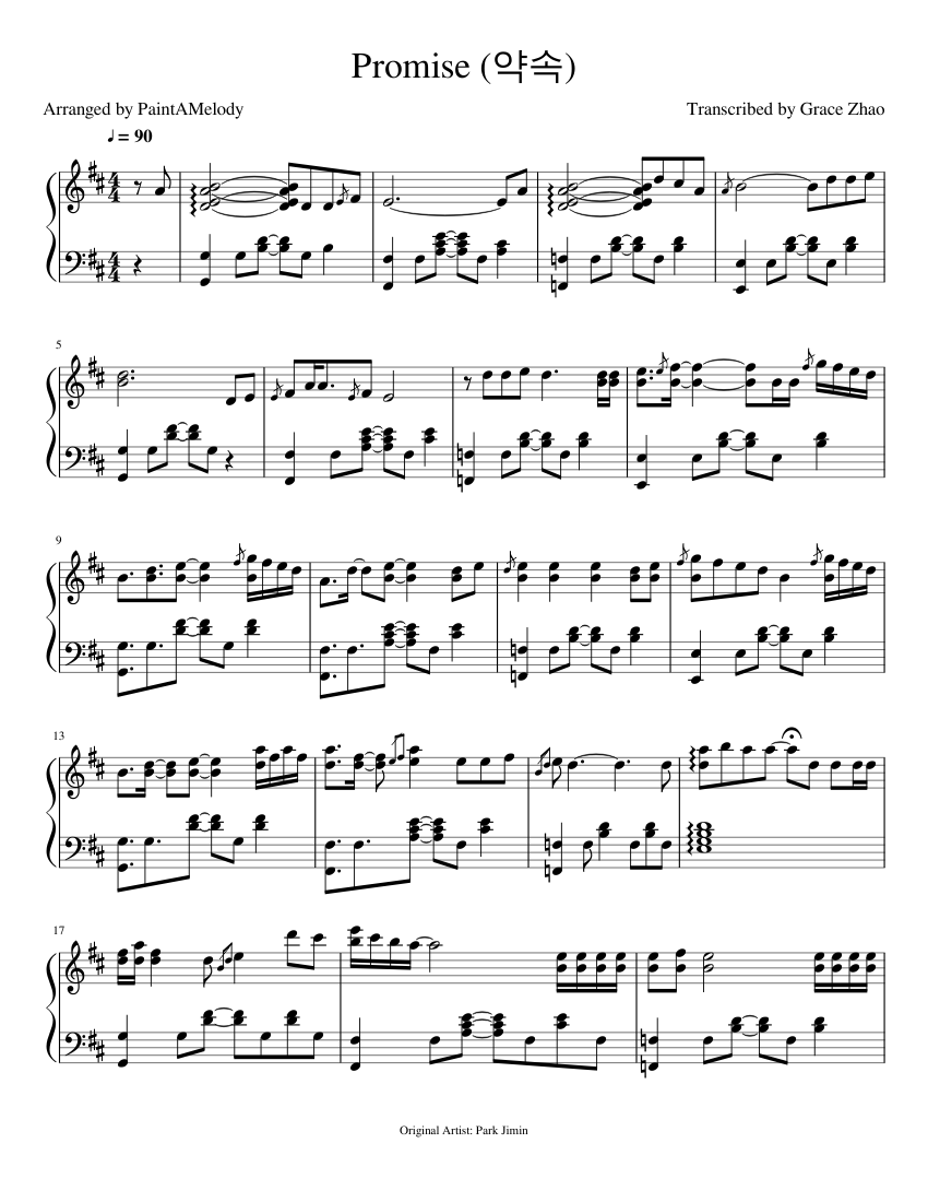 Promise - BTS Jimin sheet music for Piano download free in