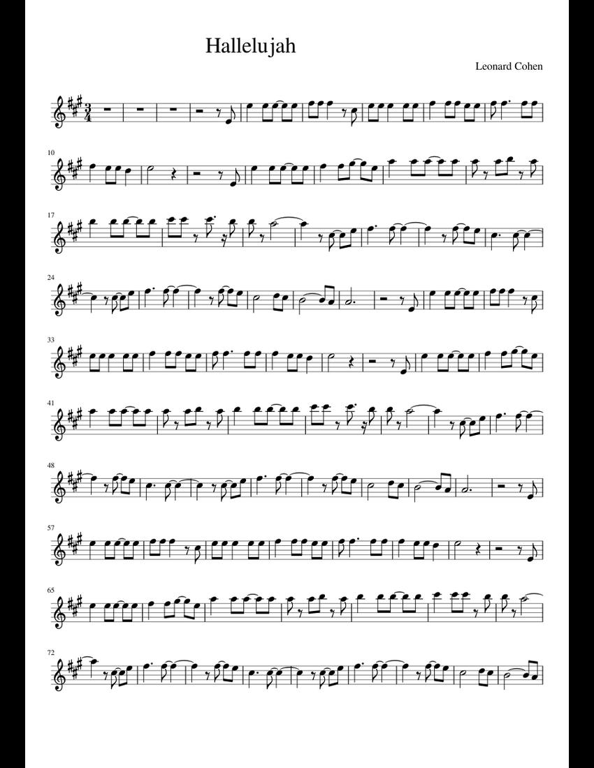 Hallelujah Sax Alto Sheet Music For Piano Download Free In Pdf Or Midi