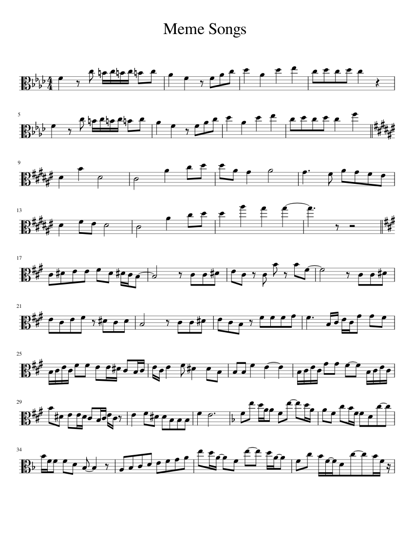 Meme Songs sheet music for Viola download free in PDF or MIDI