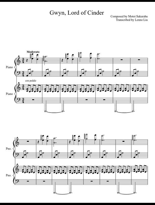 Gwyn, Lord of Cinder (Dark Souls) sheet music download free