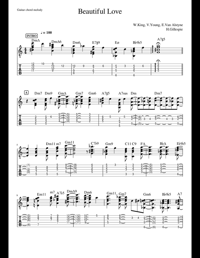 Beautiful Love (guitar chord melody) sheet music for Guitar, Bass download free in PDF or MIDI