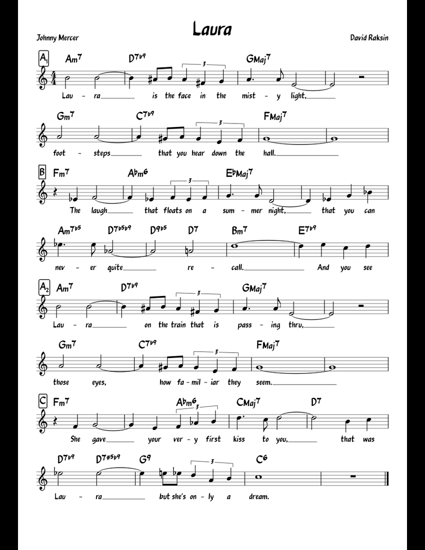 Laura sheet music for Piano download free in PDF or MIDI
