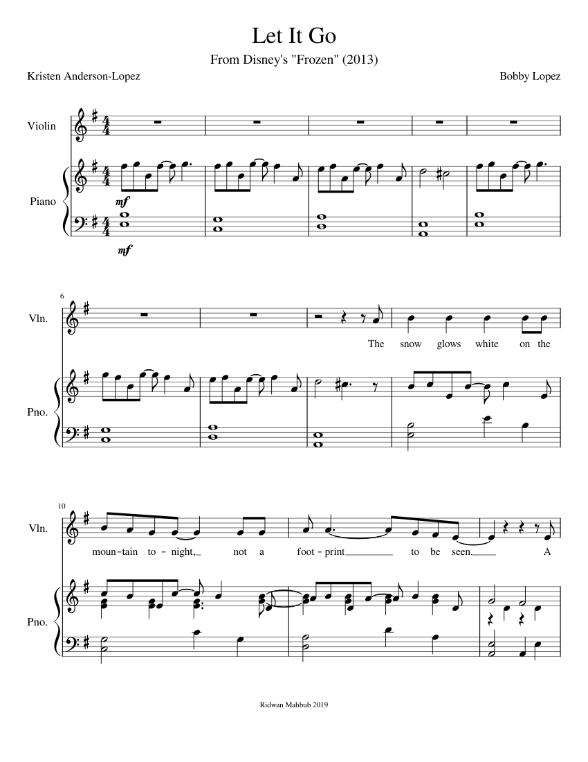Faaqidaad : Frozen let it go violin and piano sheet music