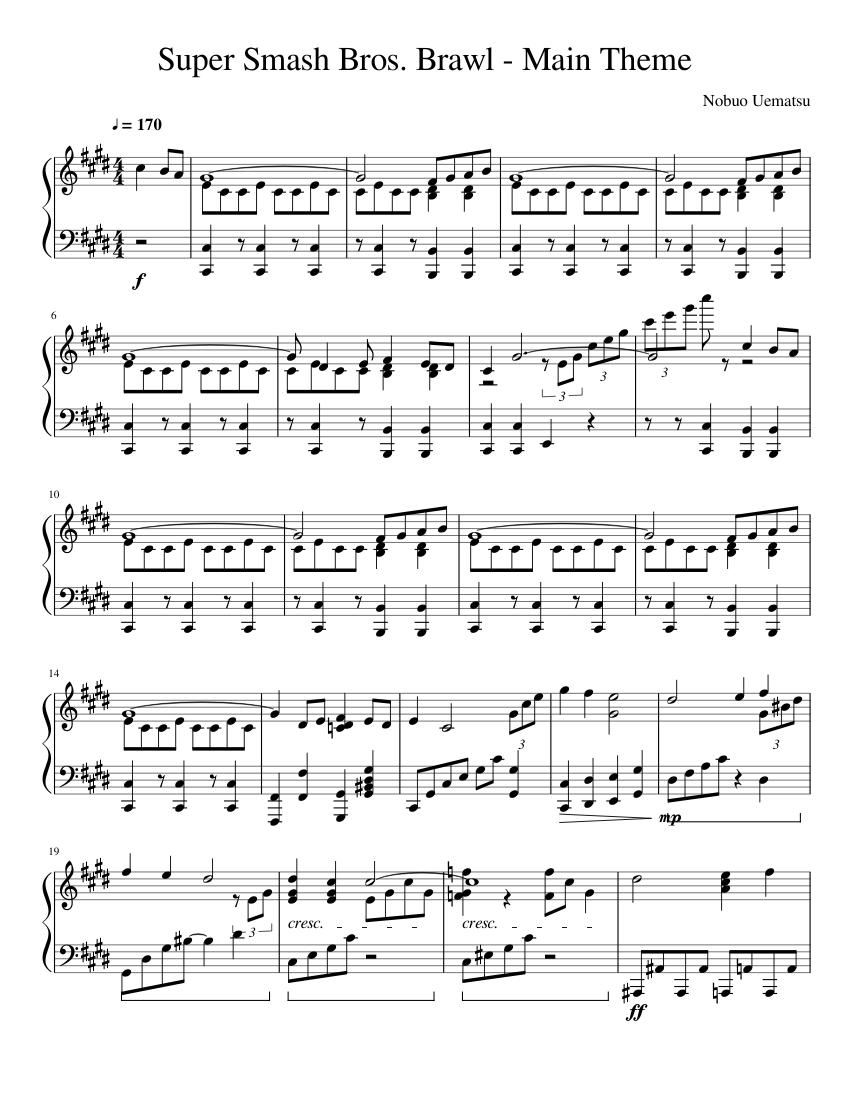 Super Smash Bros  Brawl - Main Theme sheet music for Piano