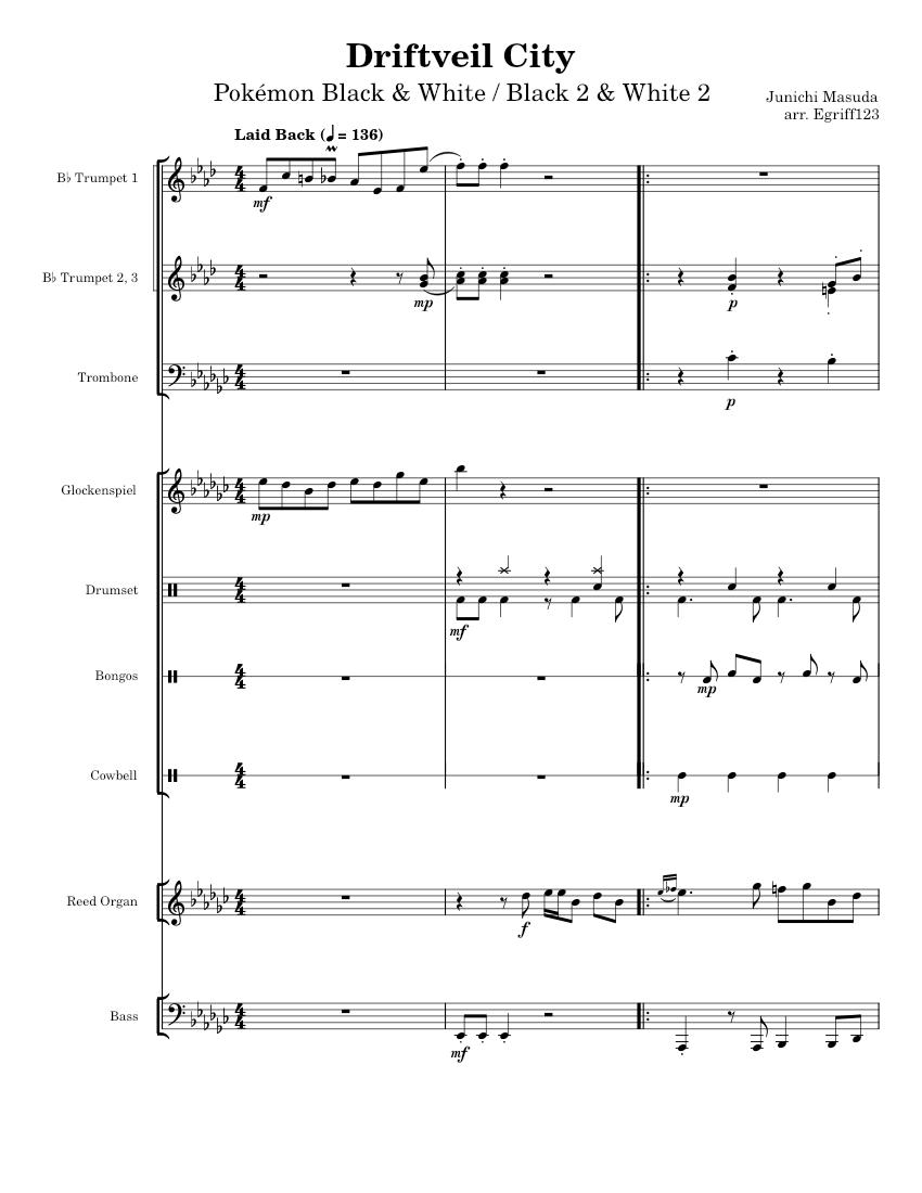 Driftveil City Pokemon Black White Sheet Music For Trombone Drum Group Marimba Glockenspiel More Instruments Mixed Ensemble Musescore Com When you reach driftveil city. musescore com