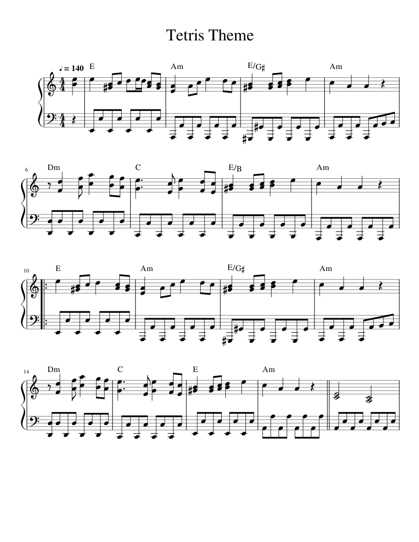 Tetris Theme sheet music for Synthesizer download free in