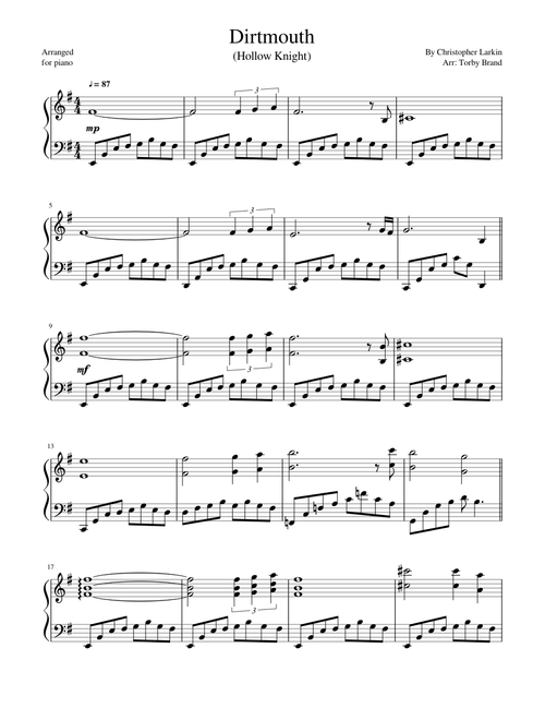 Dirtmouth (Hollow Knight) sheet music for Piano download