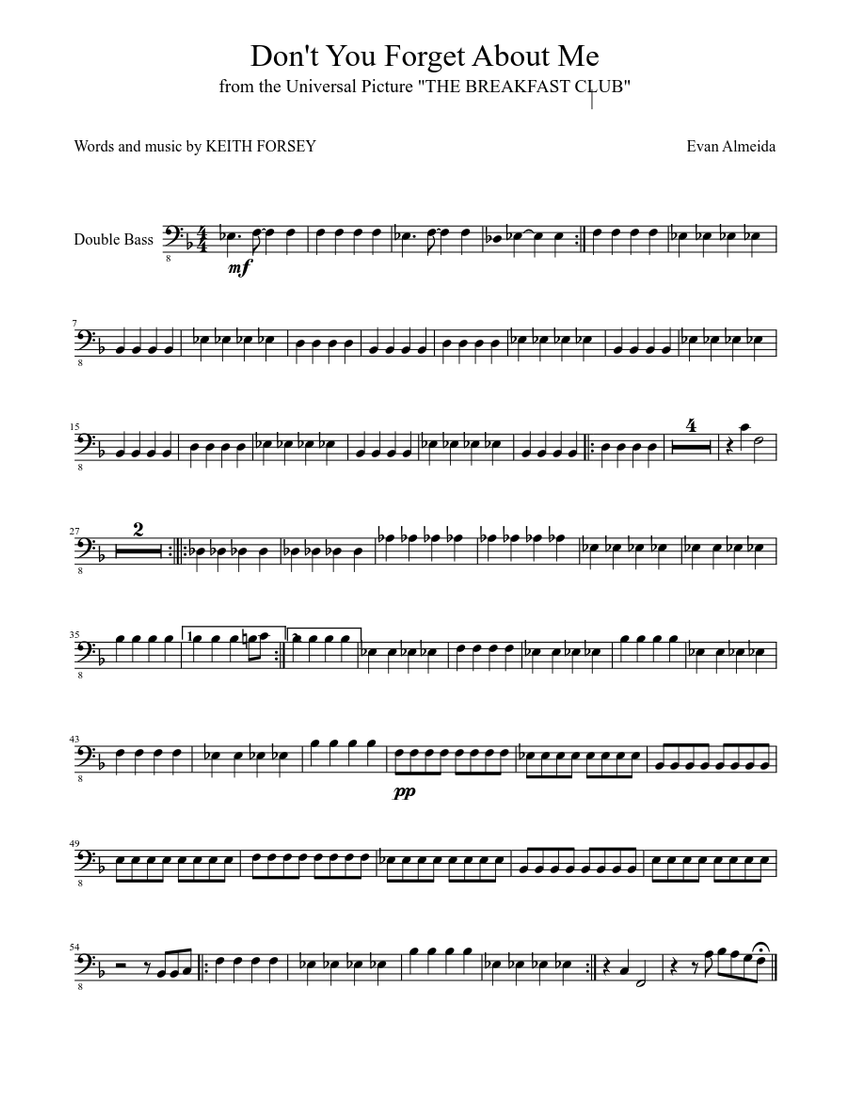 Dont You Forget About Me Sheet music | Musescore.com