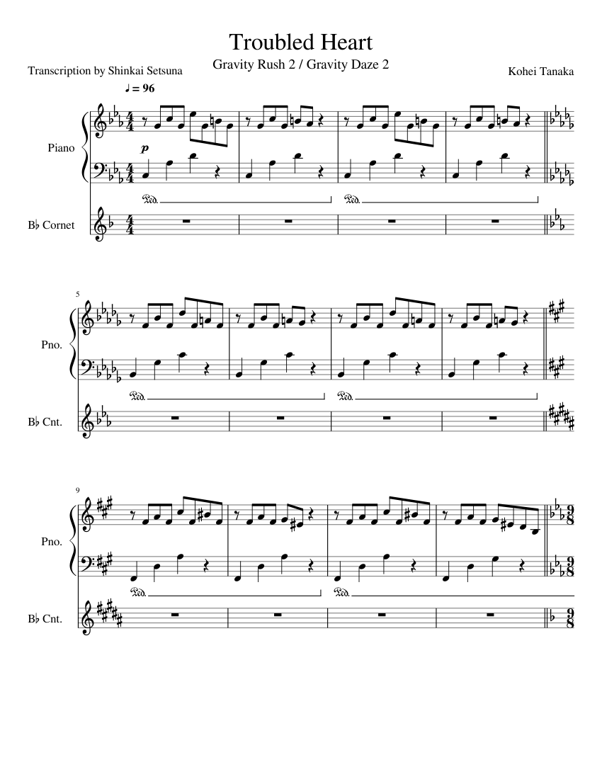 Troubled Heart - Gravity Rush 2 OST sheet music for Piano, Trumpet