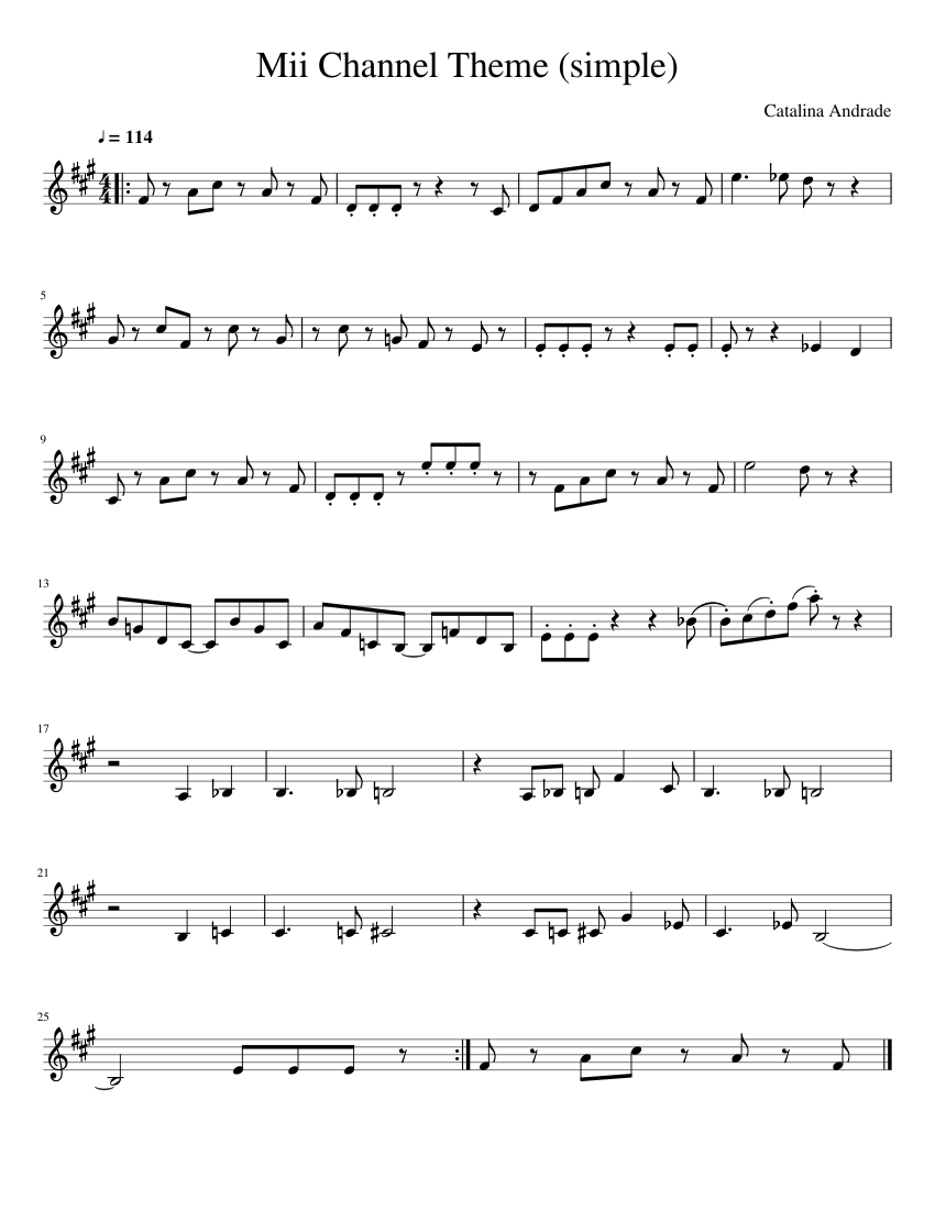 Mii Channel Theme (Simple) sheet music for Piano download