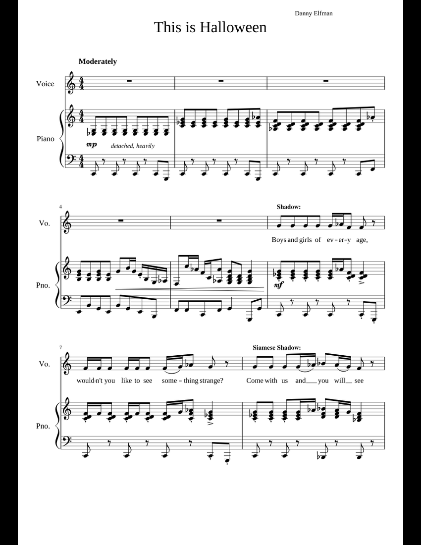 This is Halloween - The Nightmare Before Christmas sheet music for ...