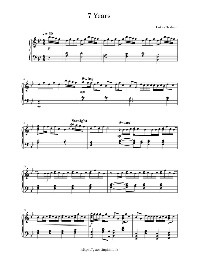 7 Years Piano Sheet Music With Letters 7 years - lukas graham - piano tutorial