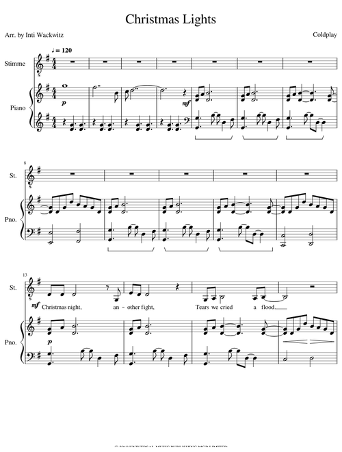 Christmas Lights Sheet Music For Piano Vocals Mixed Duet Musescore Com