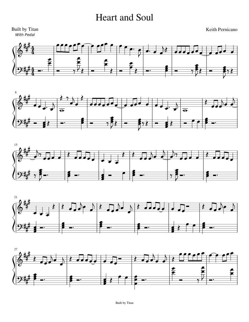 Heart and Soul Sheet music for Piano | Download free in PDF or MIDI | Musescore.com
