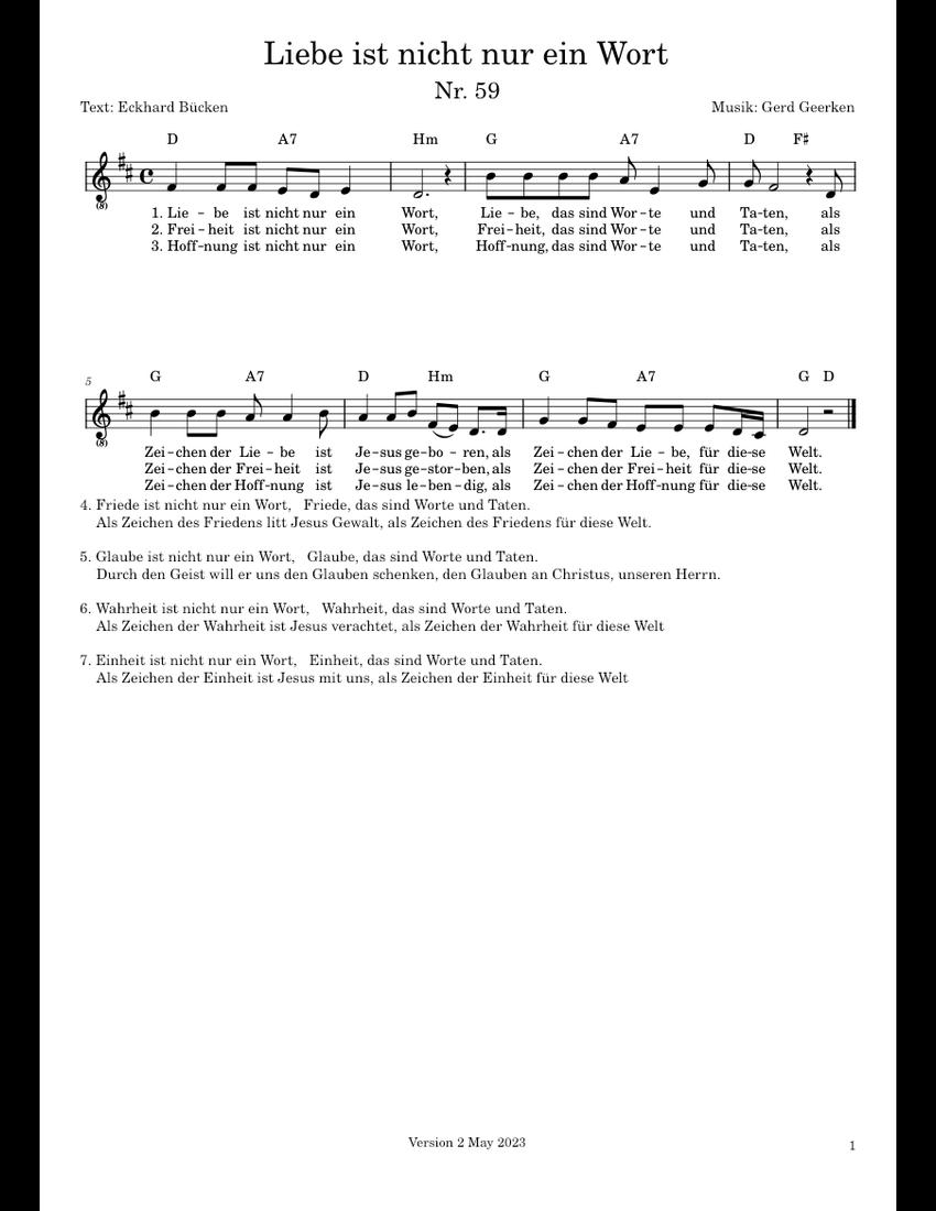 Liebe Ist Nicht Nur Ein Wort Sheet Music For Flute Voice Download