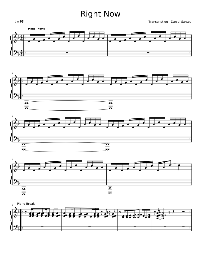 Right Now Sheet Music For Piano Solo Musescore Com