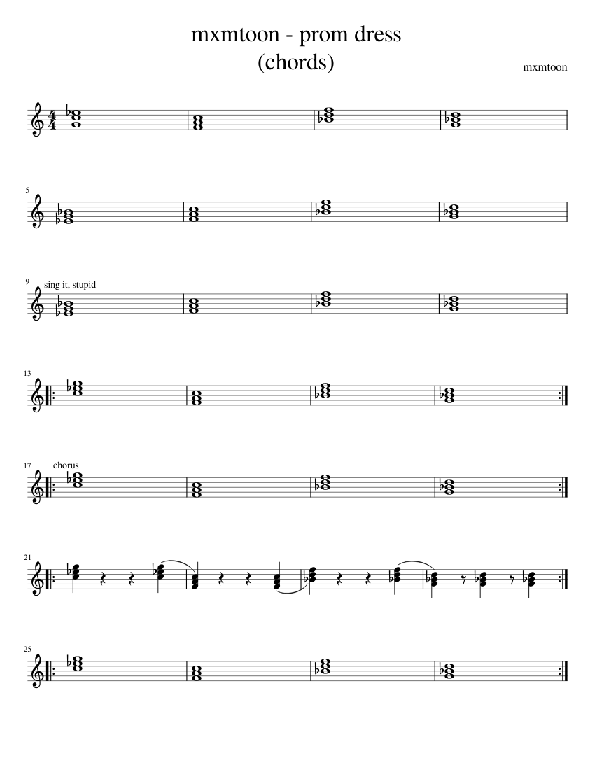mxmtoon prom dress sheet music for piano download free in pdf or midi. Black Bedroom Furniture Sets. Home Design Ideas
