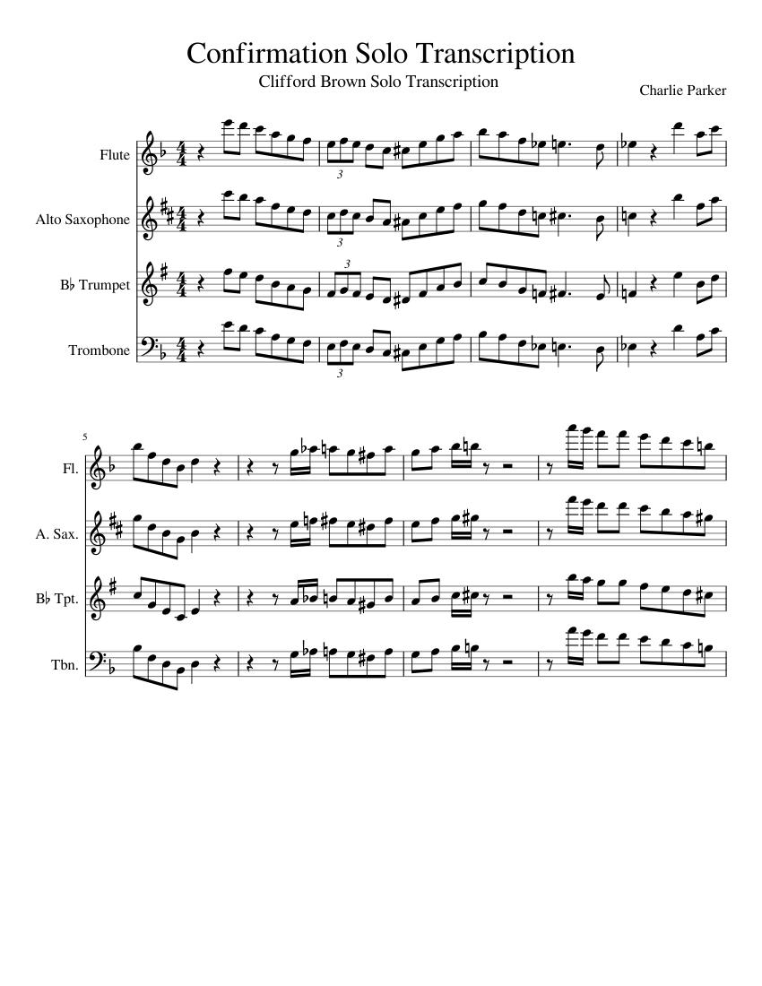 Confirmation Solo Transcription sheet music for Flute, Alto