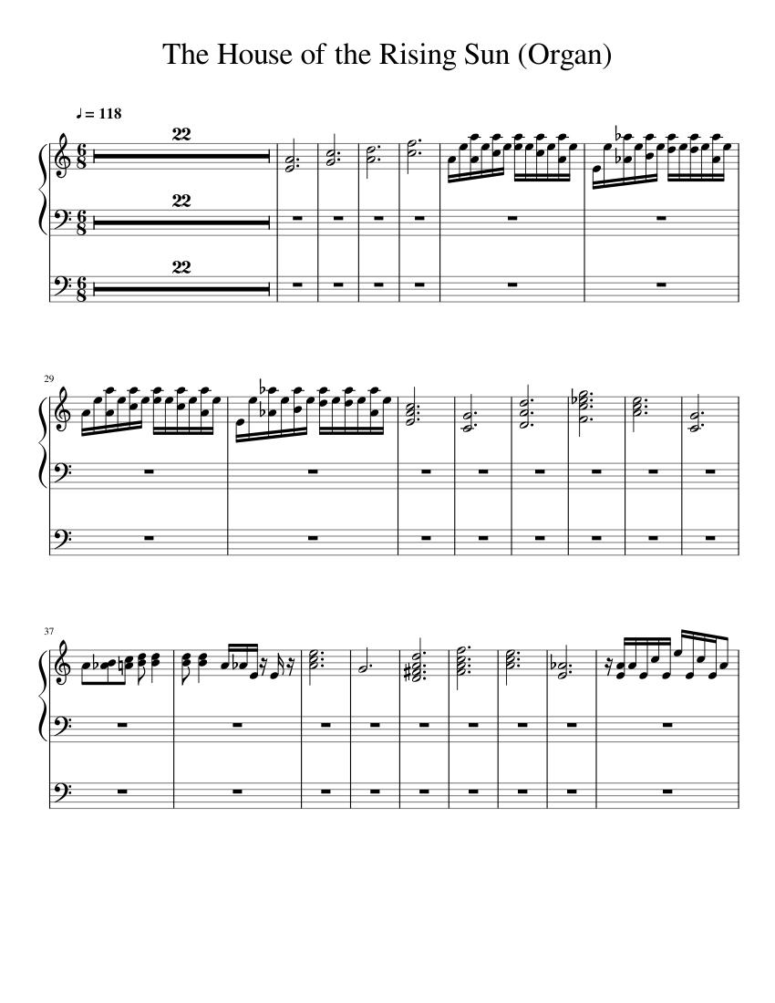 The House Of The Rising Sun Organ Sheet Music For Organ Solo Musescore Com,How Do I Hang Curtains With Rings